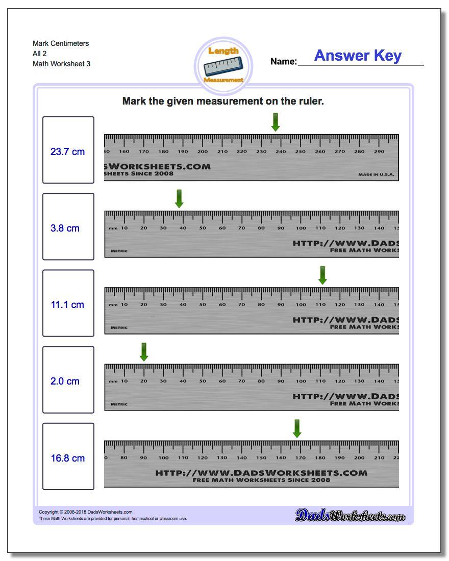 Mark Centimeters All 2 Worksheet