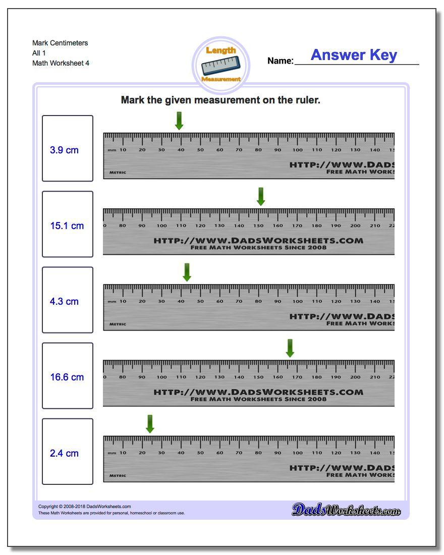 Mark Centimeters All 1 Worksheet