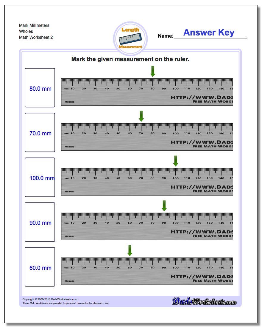 Mark Millimeters Wholes www.dadsworksheets.com/worksheets/metric-measurement.html Worksheet