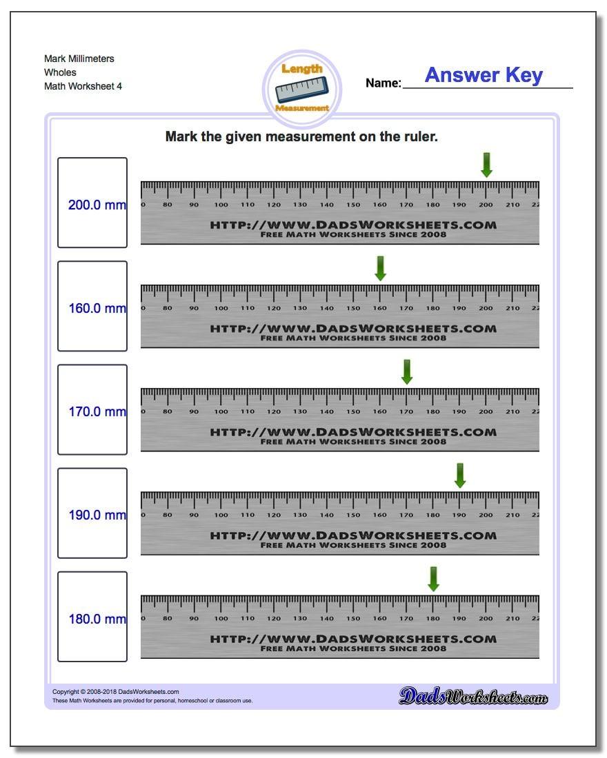 Mark Millimeters Wholes Worksheet