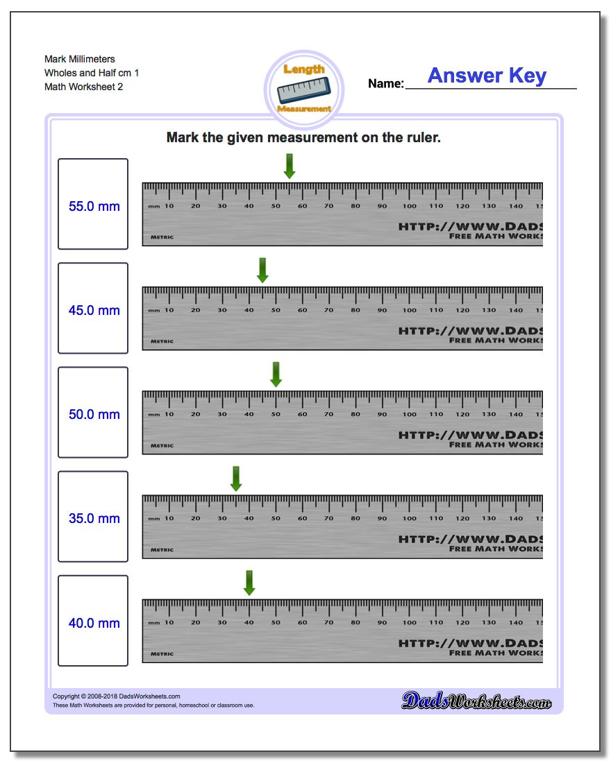 Mark Millimeters Wholes and Half cm 1 www.dadsworksheets.com/worksheets/metric-measurement.html Worksheet