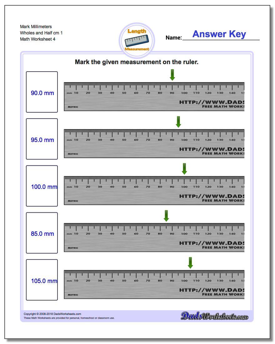Mark Millimeters Wholes and Half cm 1  Worksheet