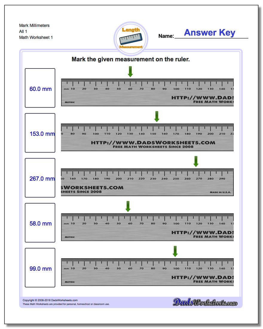 Mark Millimeters All 1 Metric Measurement Worksheet