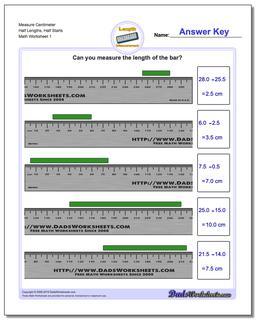 Measure Centimeter Half Lengths, Half Starts Metric Measurement Worksheet