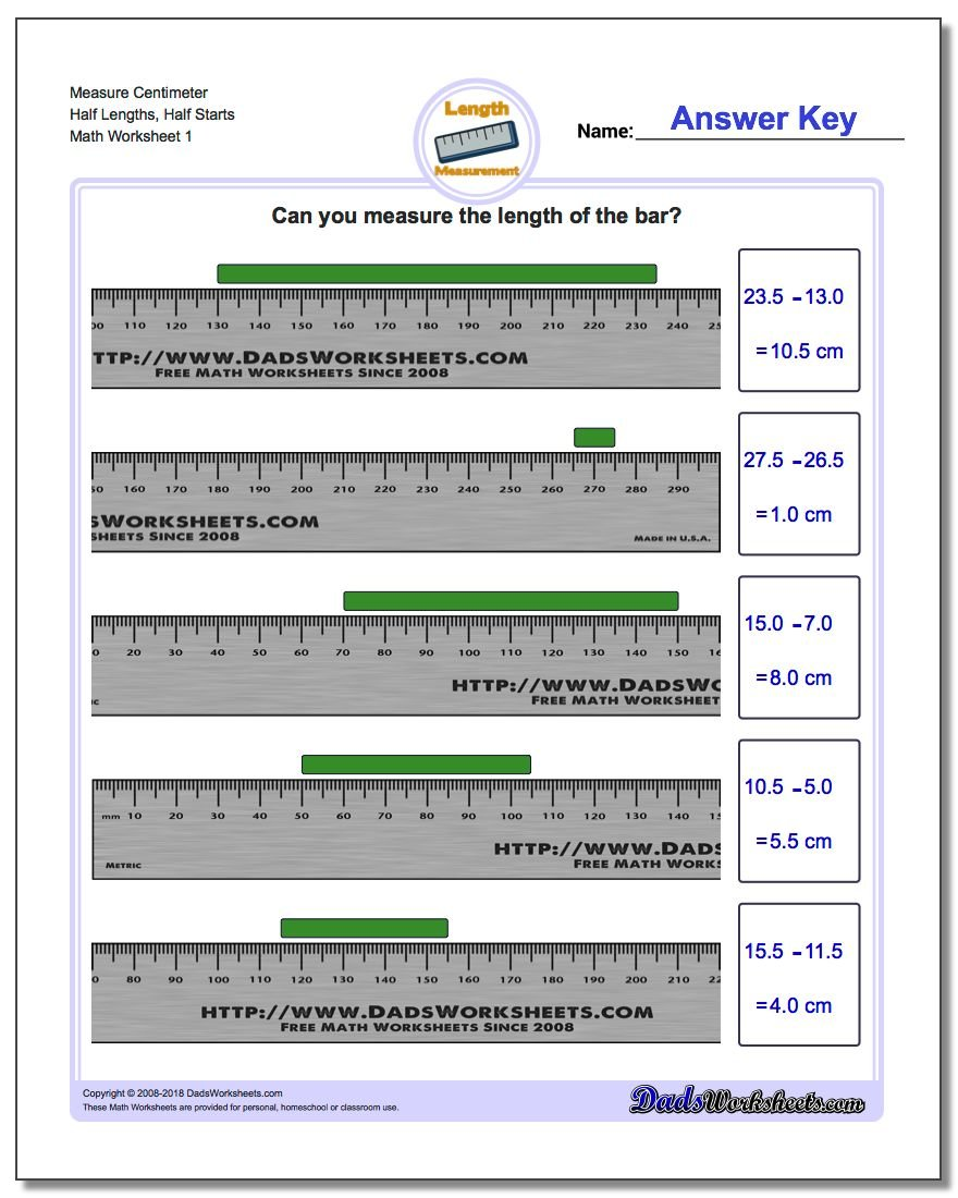 Measure Centimeter Half Lengths, Half Starts Metric Measurement Worksheet