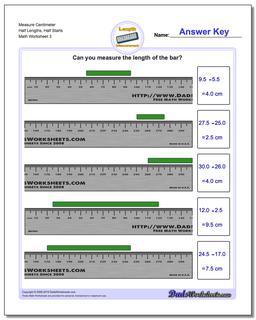 Measure Centimeter Half Lengths, Half Starts Worksheet