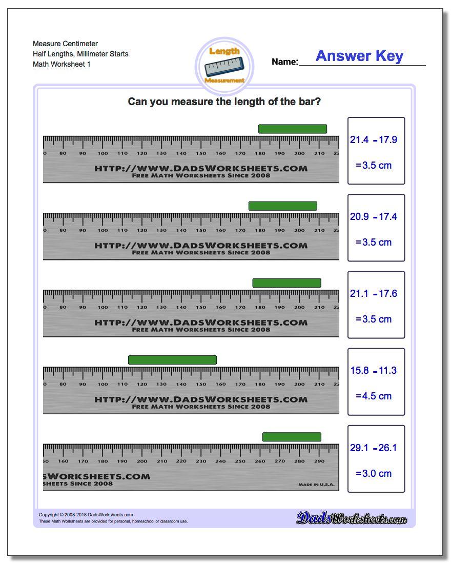 Measure Centimeter Half Lengths, Millimeter Starts Metric Measurement Worksheet