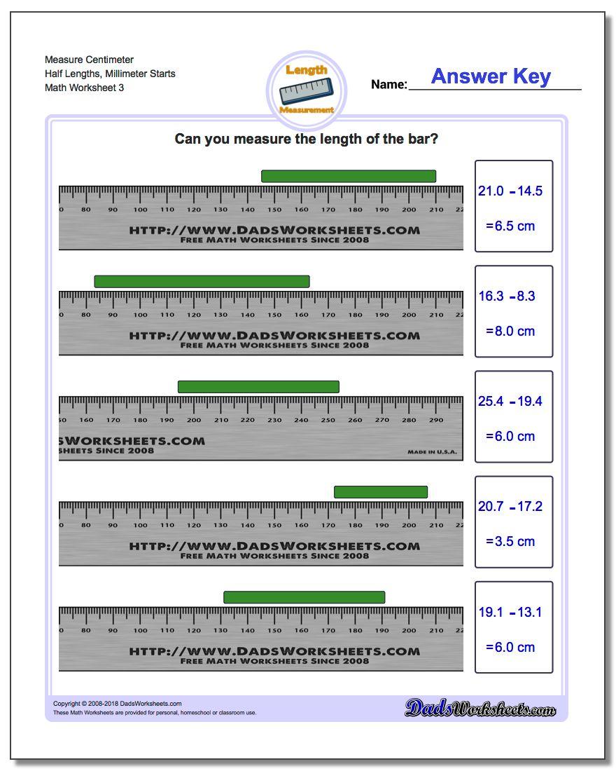 Measure Centimeter Half Lengths, Millimeter Starts Worksheet