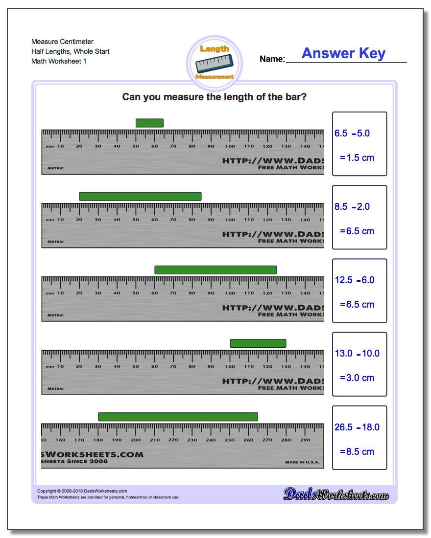 Measure Centimeter Half Lengths, Whole Start Metric Measurement Worksheet