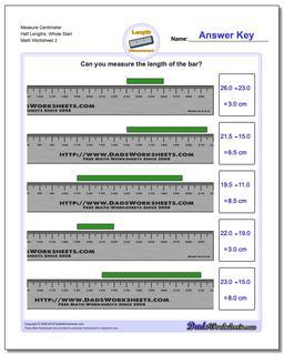 Measure Centimeter Half Lengths, Whole Start www.dadsworksheets.com/worksheets/metric-measurement.html Worksheet