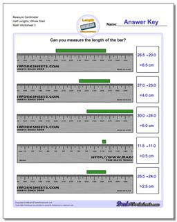 Measure Centimeter Half Lengths, Whole Start Worksheet