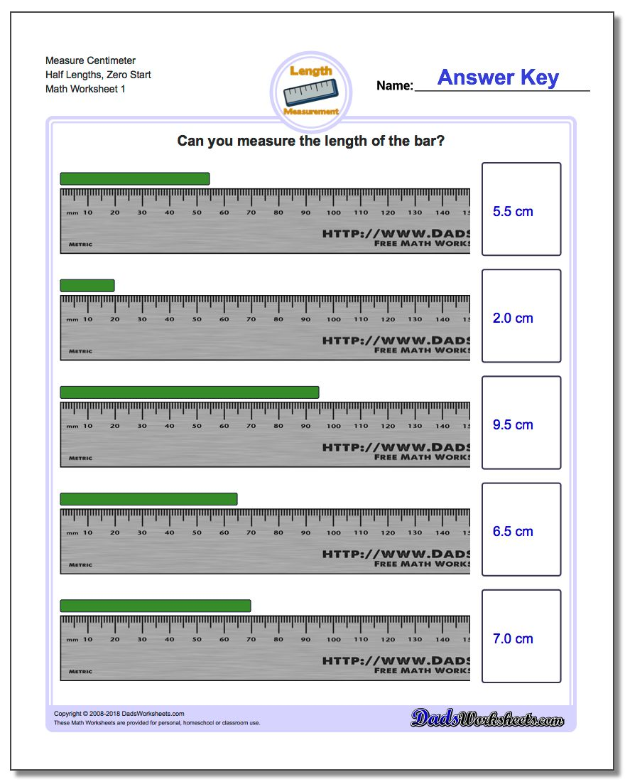 Measure Centimeter Half Lengths, Zero Start Metric Measurement Worksheet