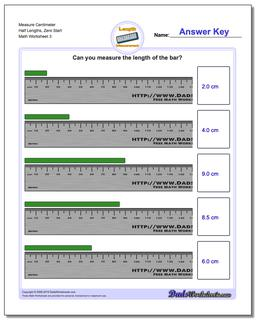 Measure Centimeter Half Lengths, Zero Start Worksheet