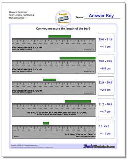 Measure Centimeter Tenth Lengths, Half Starts 2 Metric Measurement Worksheet