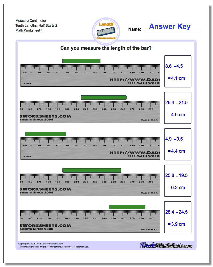 Measure Centimeter Tenth Lengths, Half Starts 2 Metric Measurement Worksheet