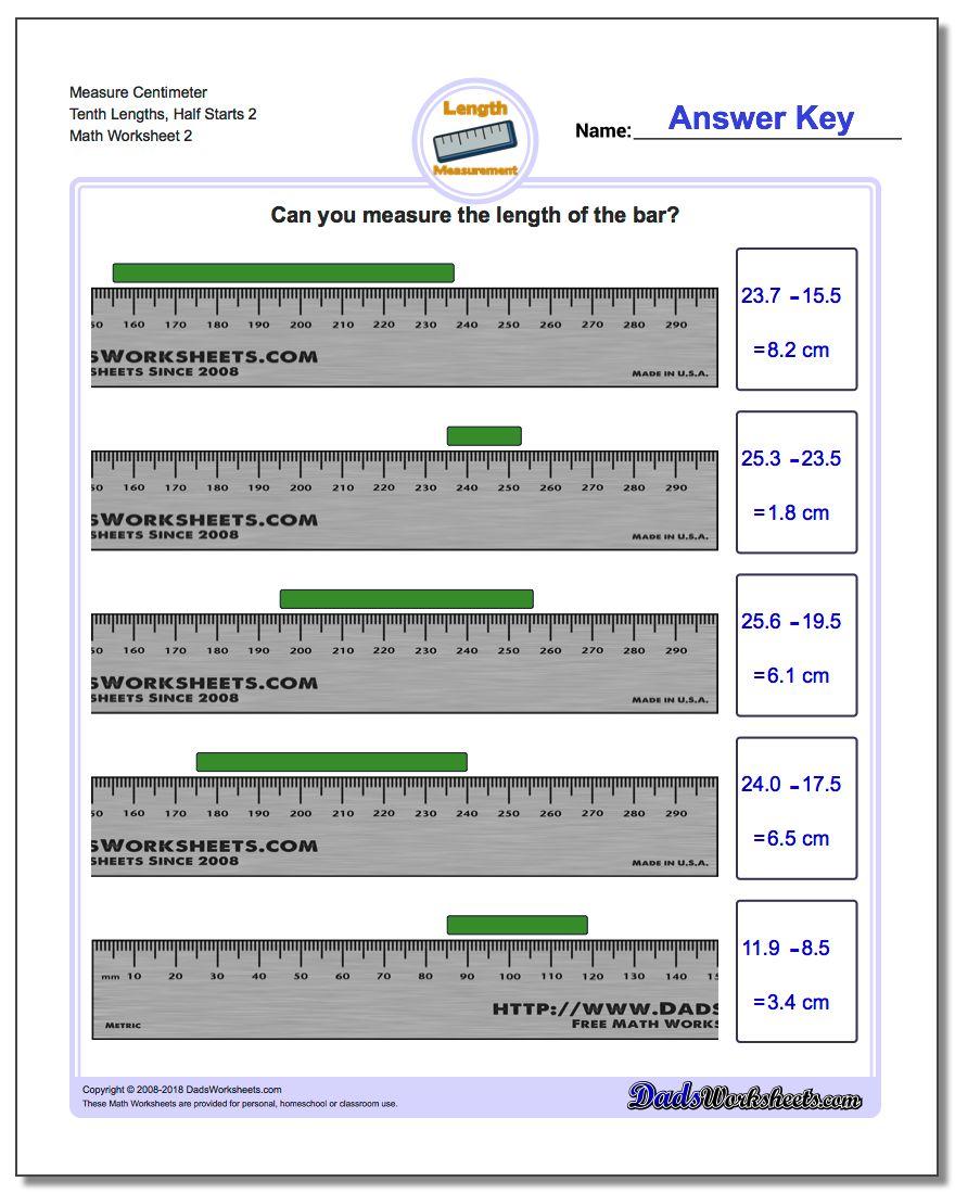 Measure Centimeter Tenth Lengths, Half Starts 2 www.dadsworksheets.com/worksheets/metric-measurement.html Worksheet