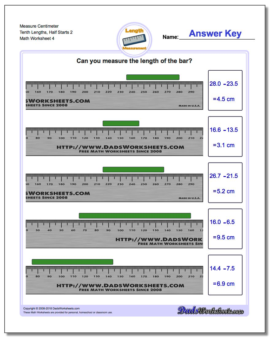 Measure Centimeter Tenth Lengths, Half Starts 2 Worksheet