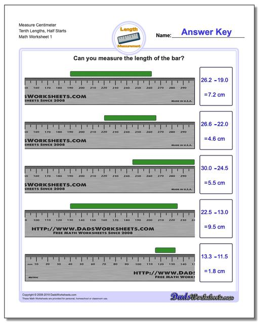 measure centimeters from wholes and half centimeters