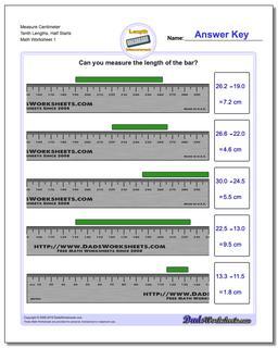 Measure Centimeter Tenth Lengths, Half Starts Metric Measurement Worksheet
