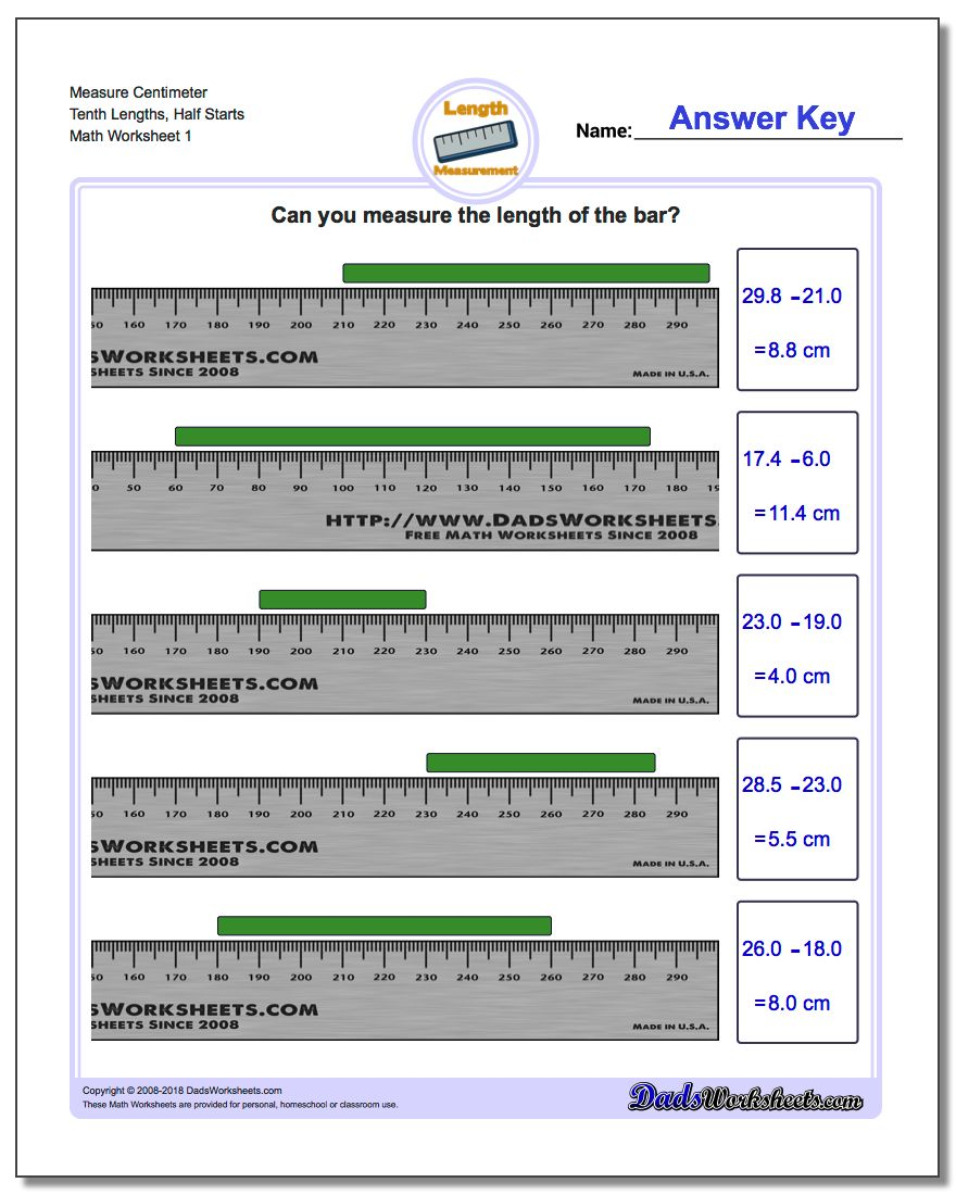 Measure Centimeter Tenth Lengths, Half Starts Metric Measurement Worksheet