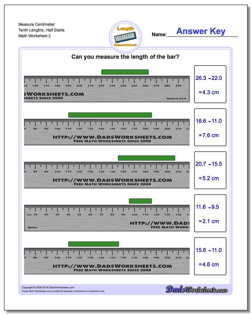 Measure Centimeter Tenth Lengths, Half Starts www.dadsworksheets.com/worksheets/metric-measurement.html Worksheet