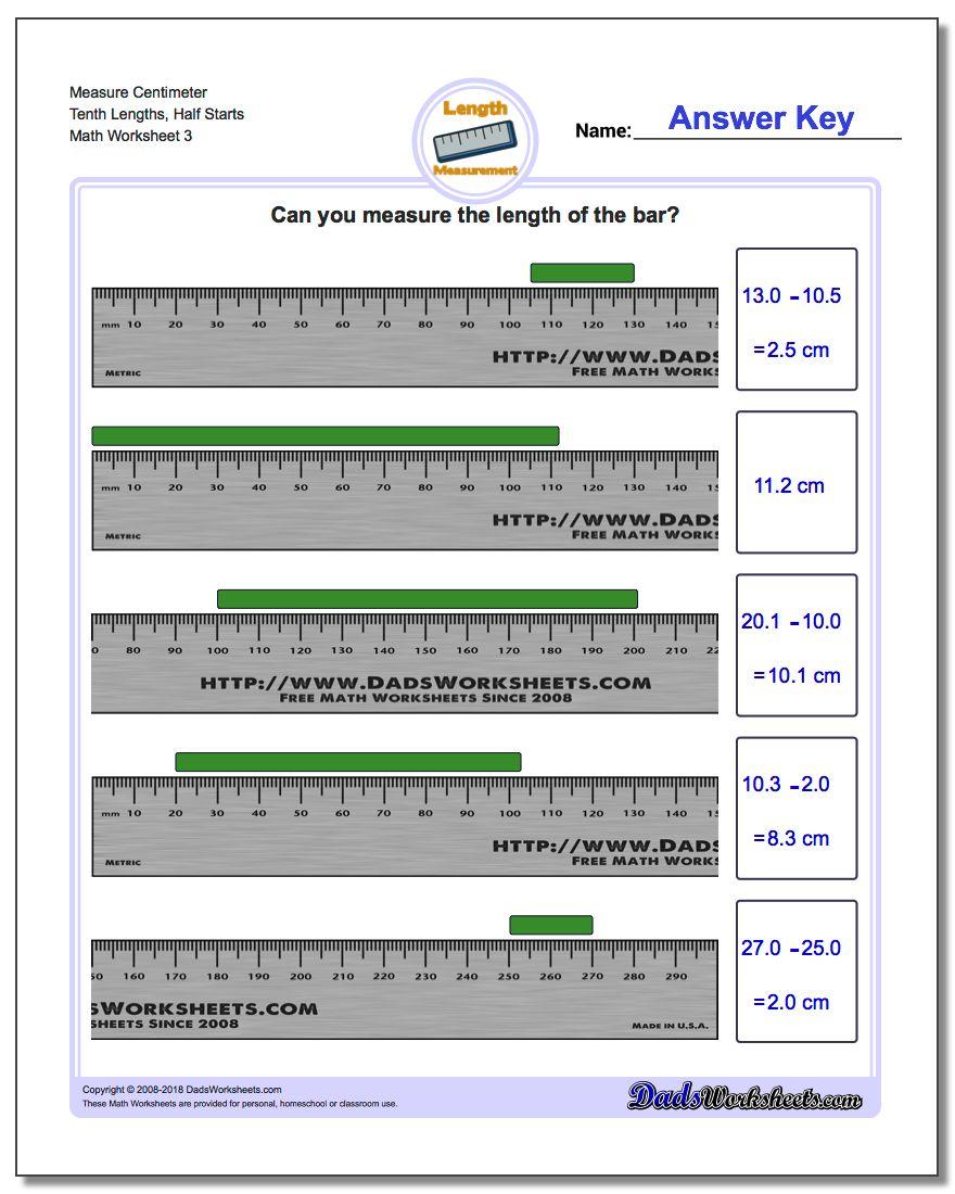 Measure Centimeter Tenth Lengths, Half Starts Worksheet