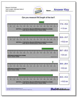 Measure Centimeter Tenth Lengths, Millimeter Starts 2 Metric Measurement Worksheet