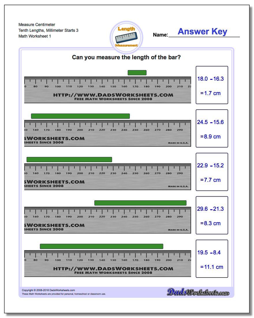 Measure Centimeter Tenth Lengths, Millimeter Starts 3 Metric Measurement Worksheet