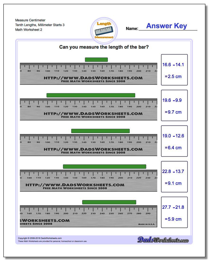 Measure Centimeter Tenth Lengths, Millimeter Starts 3 www.dadsworksheets.com/worksheets/metric-measurement.html Worksheet