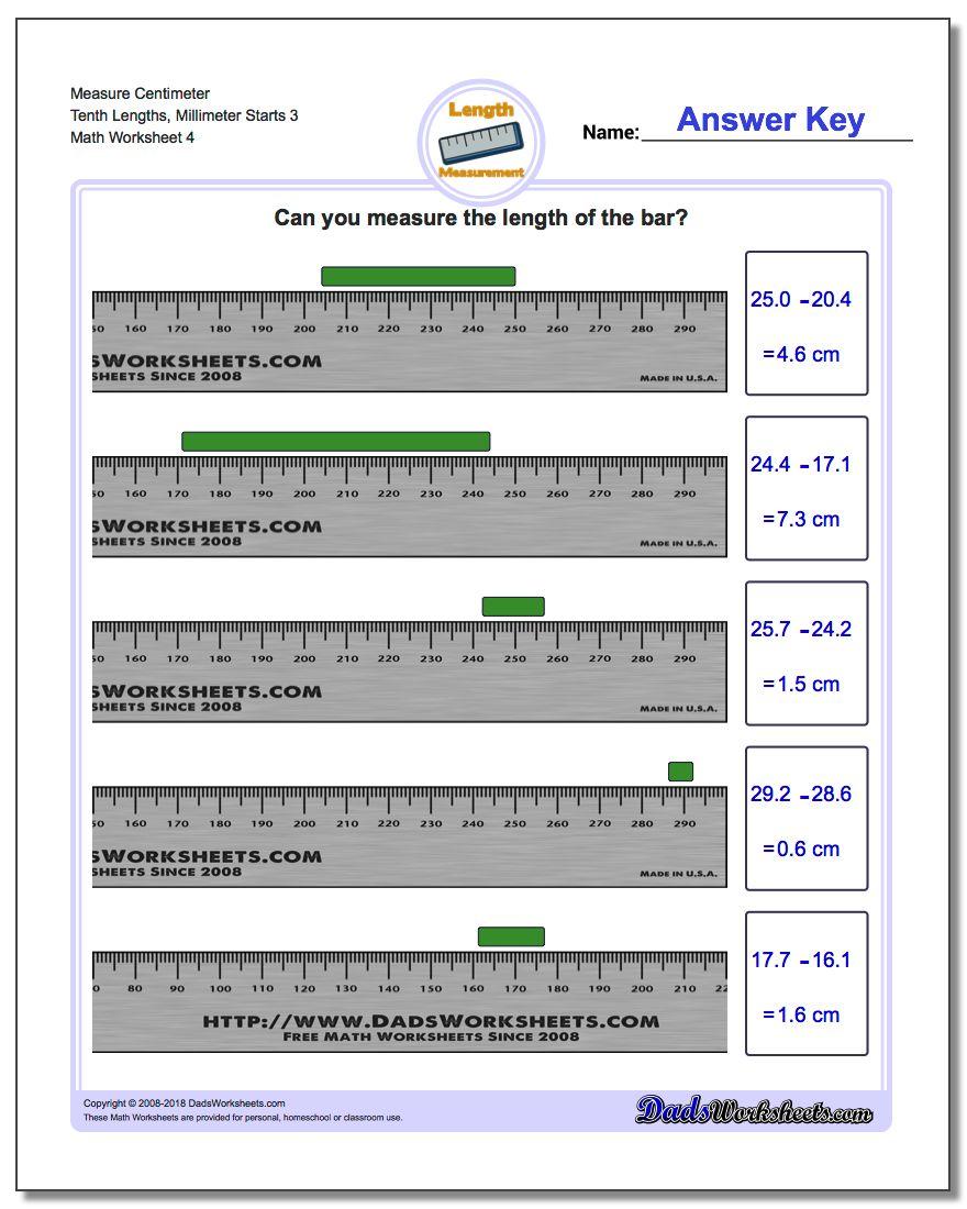 Measure Centimeter Tenth Lengths, Millimeter Starts 3 Worksheet