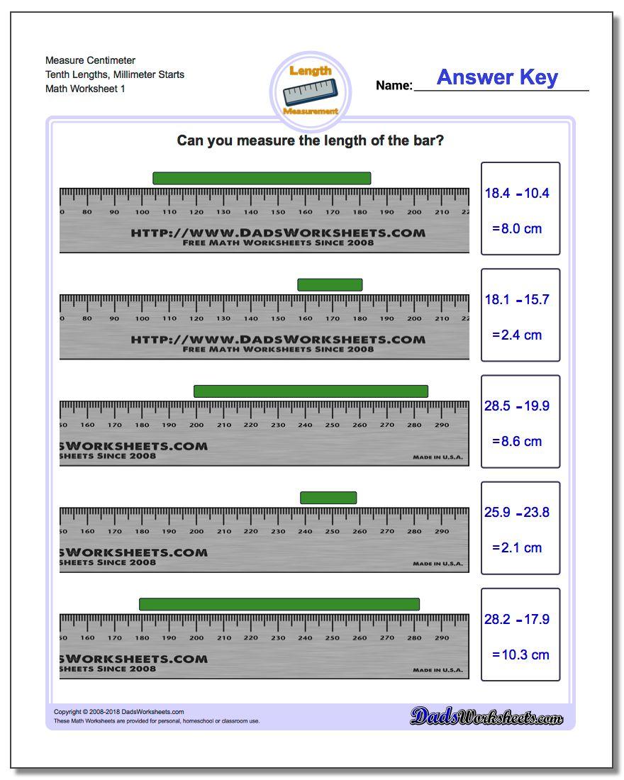 Math worksheets measure centimeters from millimeter starts, centimeter ...