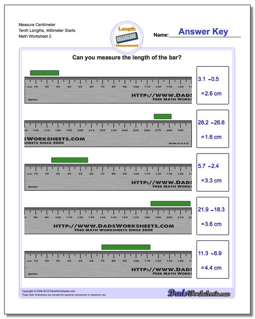 Measure Centimeter Tenth Lengths, Millimeter Starts www.dadsworksheets.com/worksheets/metric-measurement.html Worksheet