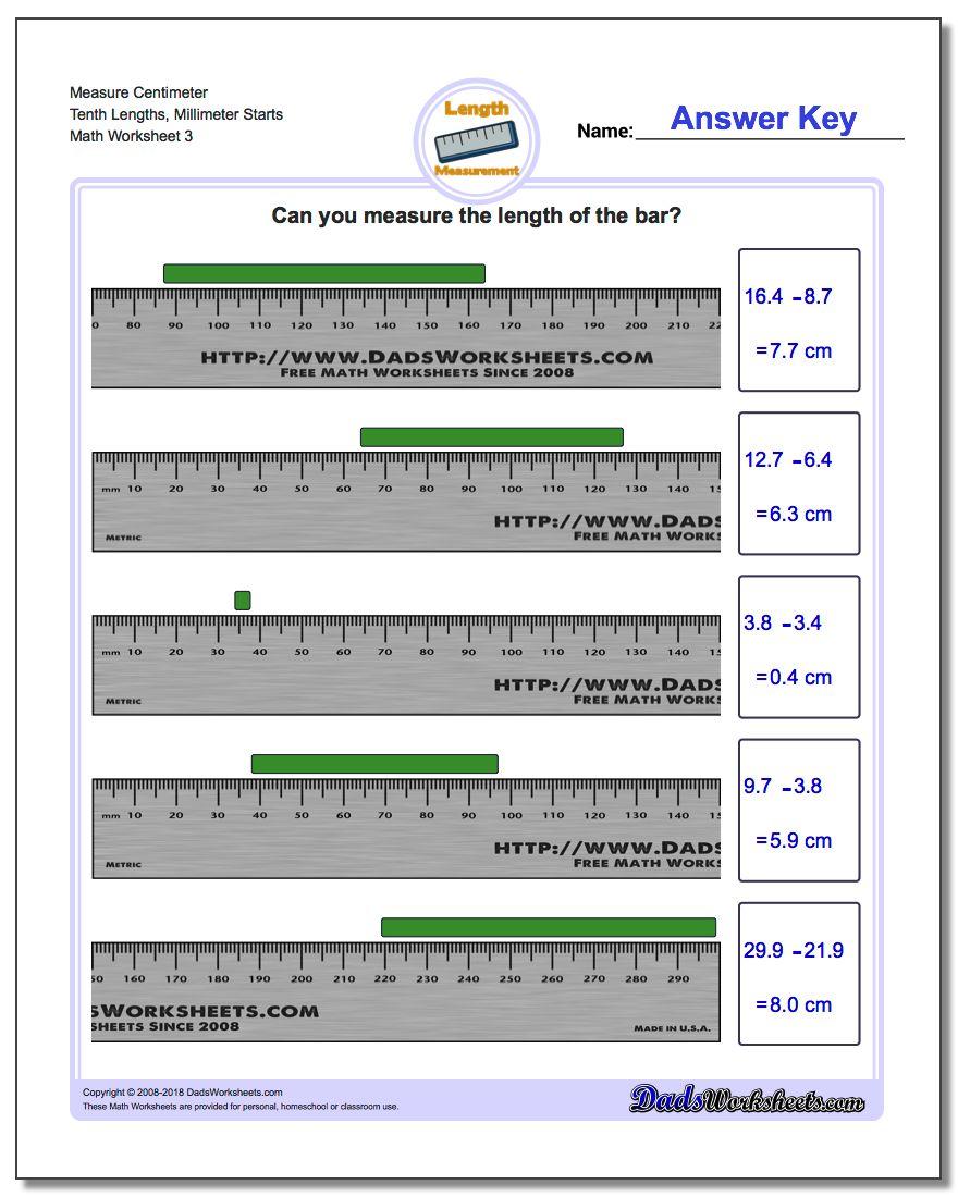 Measure Centimeter Tenth Lengths, Millimeter Starts Worksheet