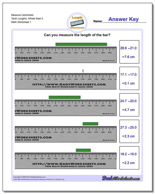 Measure Centimeter Tenth Lengths, Whole Start 2 Metric Measurement Worksheets