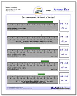 Measure Centimeter Tenth Lengths, Whole Start 2 Metric Measurement Worksheet