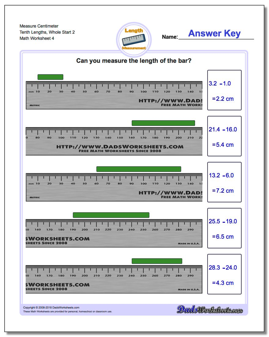 Measure Centimeter Tenth Lengths, Whole Start 2 Worksheet
