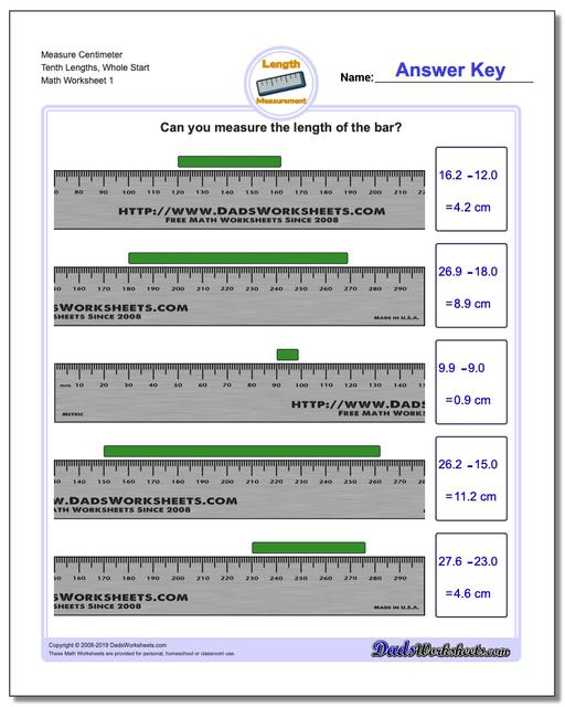 Measure Centimeter Tenth Lengths, Whole Start Metric Measurement Worksheets