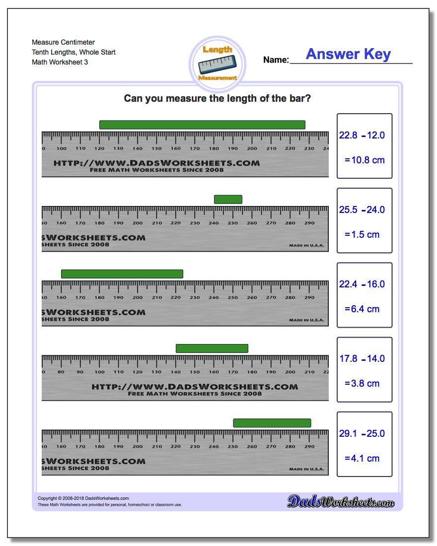 Measure Centimeter Tenth Lengths, Whole Start Worksheet