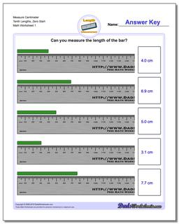 Measure Centimeter Tenth Lengths, Zero Start Metric Measurement Worksheet