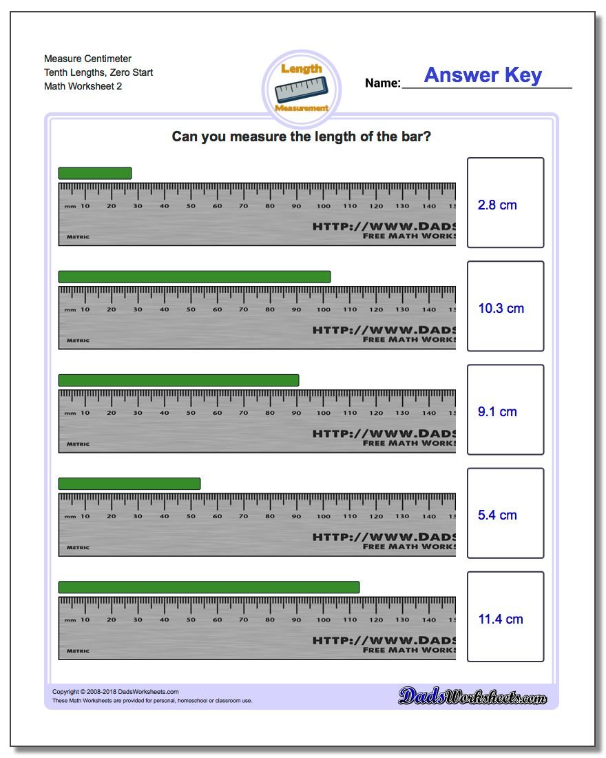 Measure Centimeter Tenth Lengths, Zero Start www.dadsworksheets.com/worksheets/metric-measurement.html Worksheet