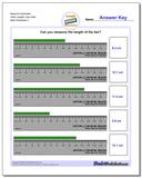 Measure Centimeter Tenth Lengths, Zero Start Worksheet