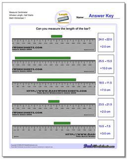 Measure Centimeter Wholes Length, Half Starts Metric Measurement Worksheet