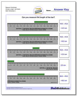 Measure Centimeter Wholes Length, Half Starts www.dadsworksheets.com/worksheets/metric-measurement.html Worksheet