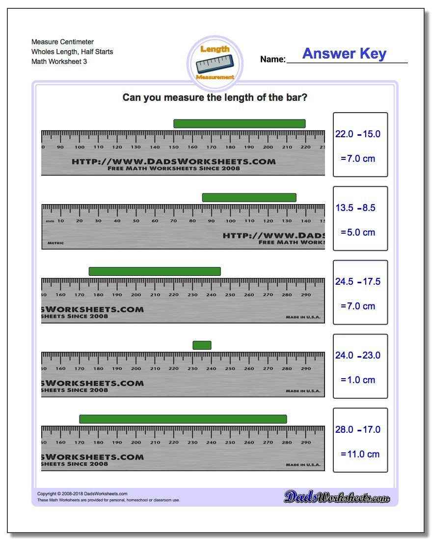 Measure Centimeter Wholes Length, Half Starts Worksheet