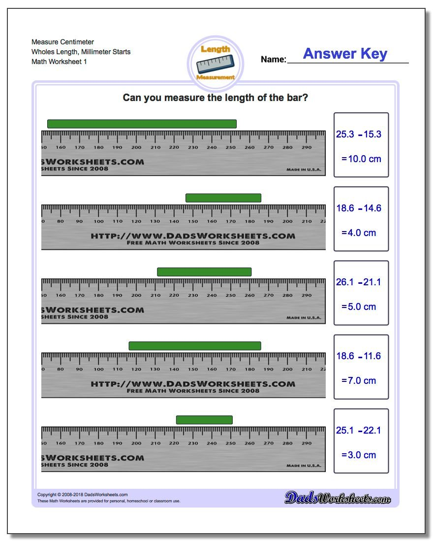 Measure Centimeters from Millimeter Starts