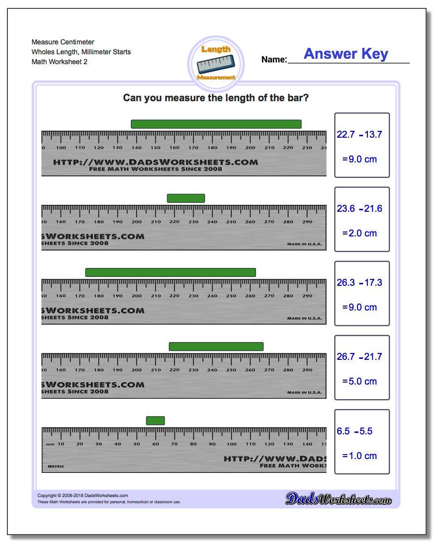 Measure Centimeter Wholes Length, Millimeter Starts www.dadsworksheets.com/worksheets/metric-measurement.html Worksheet