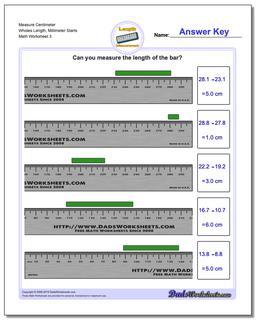 Measure Centimeter Wholes Length, Millimeter Starts Worksheet