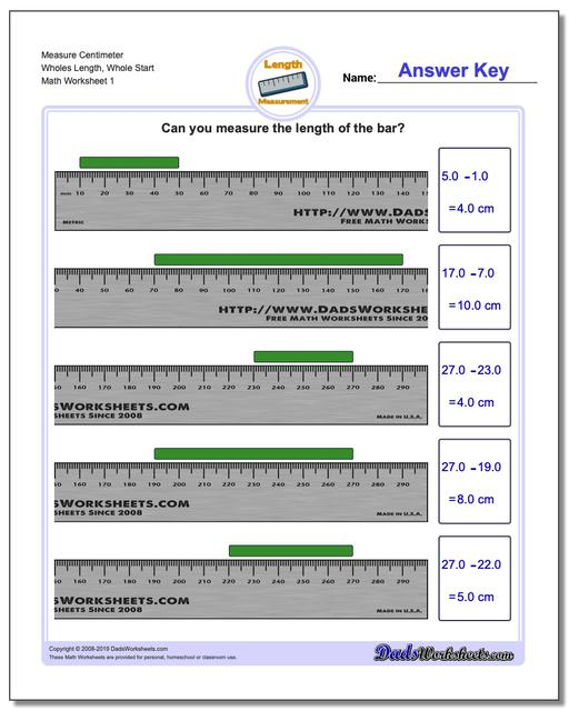Measure Centimeter Wholes Length, Whole Start Metric Measurement Worksheets