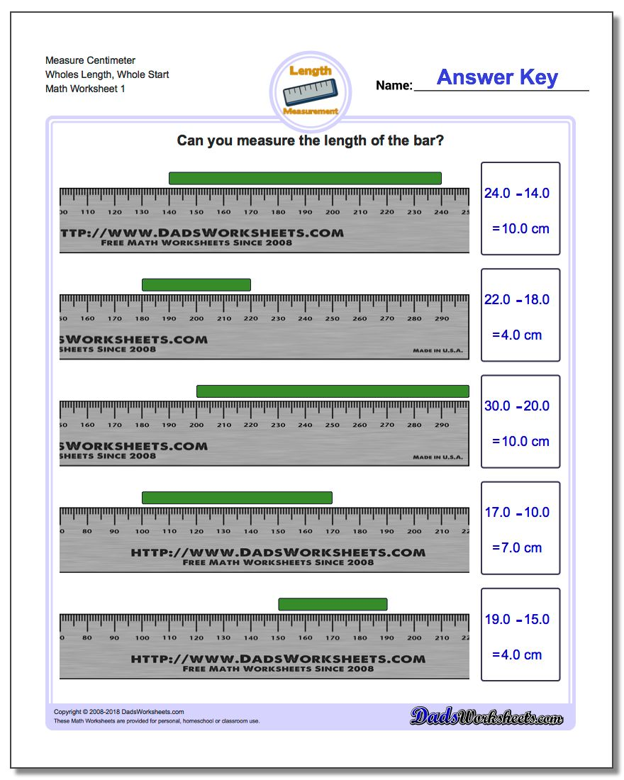 Metric Measurement – Reading a Ruler Worksheet