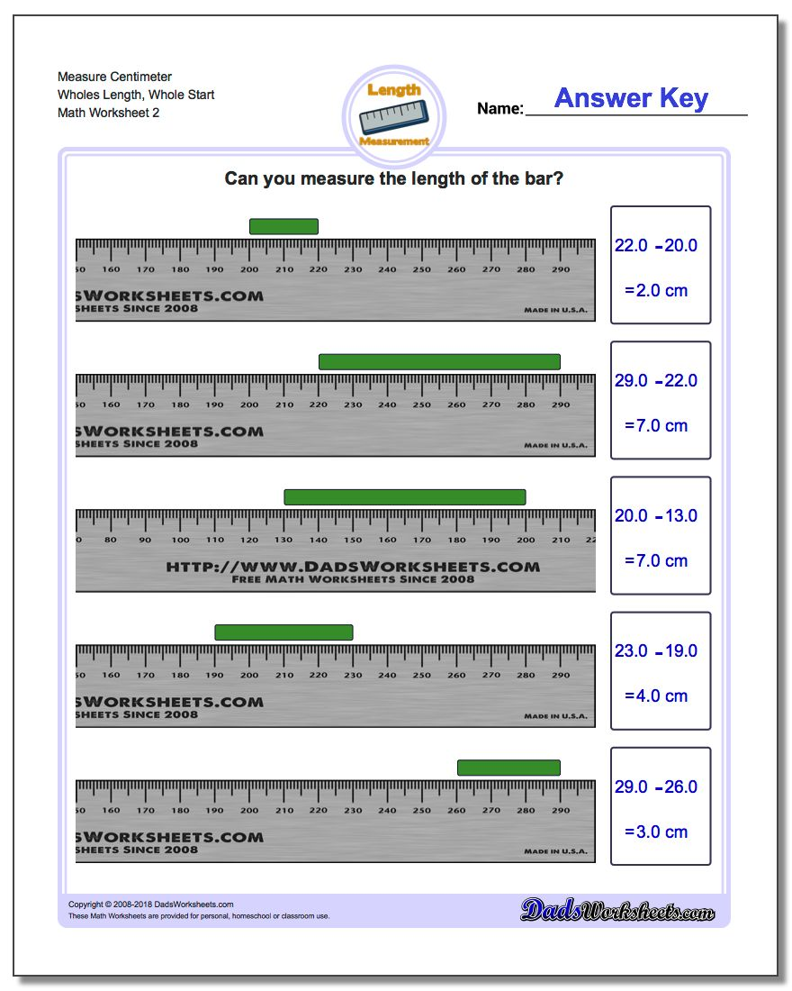 Measure Centimeter Wholes Length, Whole Start www.dadsworksheets.com/worksheets/metric-measurement.html Worksheet